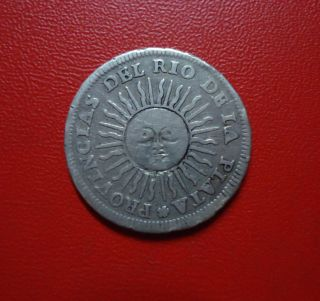 Argentina Silver Coin 1 Real,  Km2 Vf,  1813 Ptsj photo
