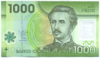 Chile Note 1000 Pesos 2012 Polymer Serial Cg P Unc photo