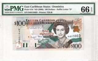 Eastern East Caribbean 100 Dollars (2000) P41d Dominica Pmg 66 Epq Letter D photo