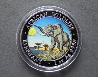 Somalia 2016 African Wildlife Elephant Day Color Colorized 1oz Silver Coin photo