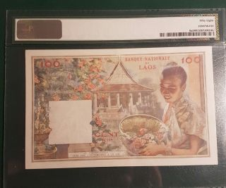 Pmg Colorful Early Laos Big Size Lao Banque Nationale 6a 1957 100 Kip Ch.  Aunc photo