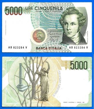 Italy 5000 Lire 1985 Sign Ciampi & Speziali Lires Bellini Italia World photo