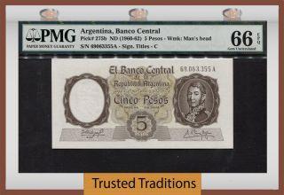Tt Pk 275b 1960 - 62 Argentina 5 Pesos