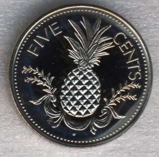 Bahamas 5 Cents 1974 Pineapple Fruit Proof 21mm photo