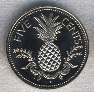 Bahamas 5 Cents 1975 Pineapple Fruit Proof 21mm photo