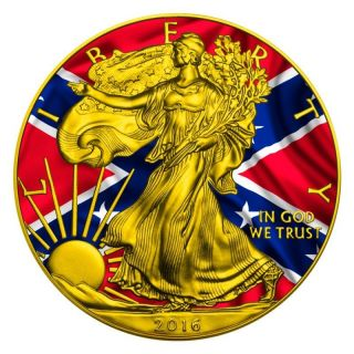 2016 1 Oz.  999 Fine Silver Confederate Flag Coin photo