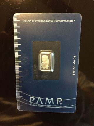 1 Gram Pamp Suisse Lady Fortuna Platinum Bar.  9995 Fine (in Assay) photo
