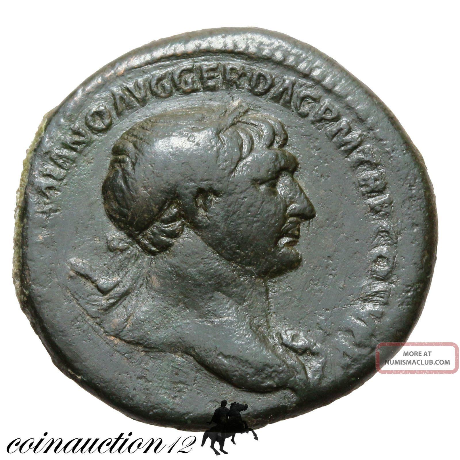 Roman Bronze Dupondius Trajan Spqr Optimo Principi S C Coins: Ancient photo