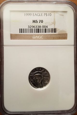 1999 $10 Platinum Eagle - Ngc Ms70 Key Date photo