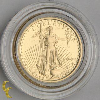 1990 - P Proof Gold American Eagle 1/10 Oz.  W/ Box,  Case,  And Bullion Coin photo