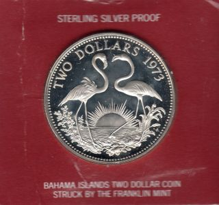 1973 Bahamas Two ($2) Dollar Silver Proof Coin With Case photo
