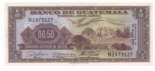 Guatemala: Banknote - 1/2 Quetzal 1961 Unc photo