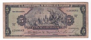 El Salvador: Banknote - 5 Colones 1964 - Scarce photo