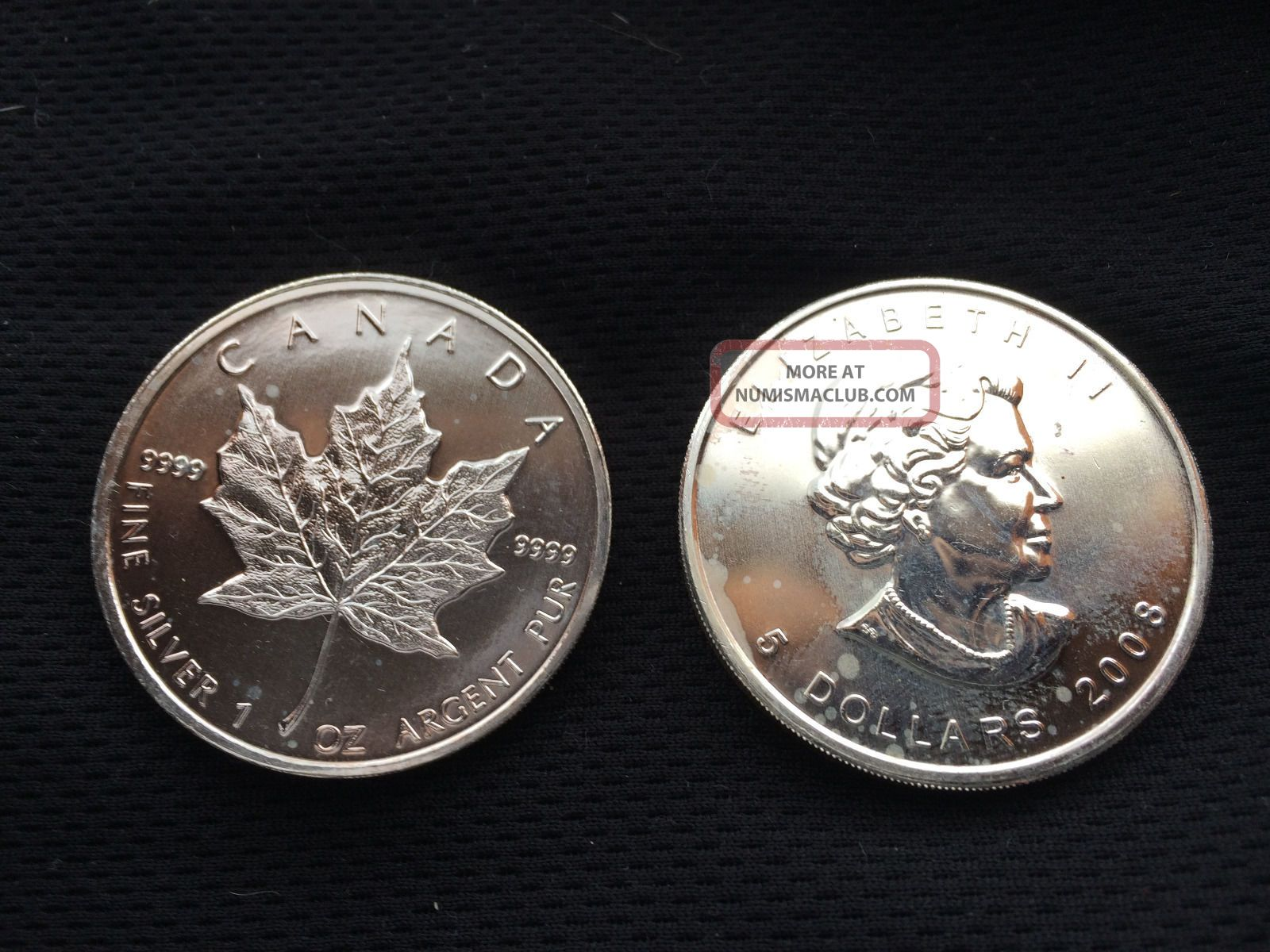 2008 Canadian Maple Leaf 1 Oz 5 Dollar Silver Coin 99 99 Bu
