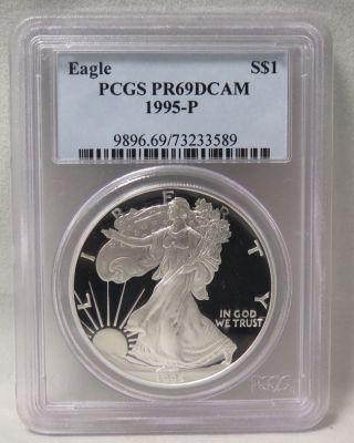 1995 - P American Silver Eagle Proof (pcgs - Pr69 Dcam) photo