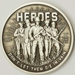 250 Minted.  Heroes Sdwc Double Reverse Antiqued 1 Oz Silver Proof First Strike photo