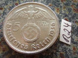 1936 A Third Reich 5 Mark Silver Swastika Eagle / Earl Hindenburg Reichsmark photo