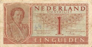Netherlands 1 Gulden 8.  8.  1949 Series 2db Circulated Banknote Em30ep photo