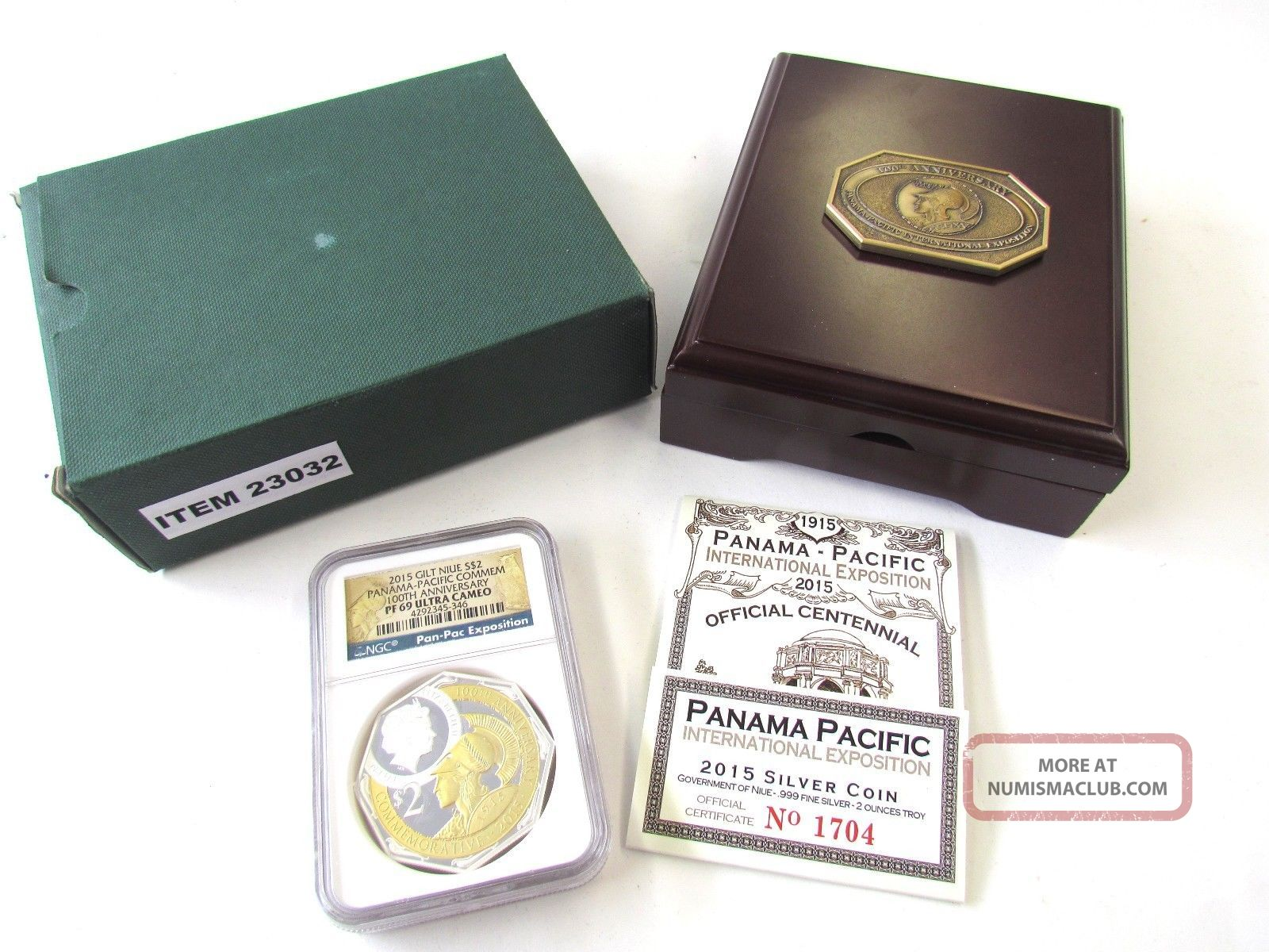 2015 Gilt Niue $2 - 2 Oz Silver Panama Pacific 100th Anniversary Ngc Pf69 Ult Cam Coins: World photo