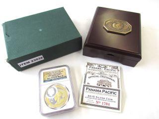 2015 Gilt Niue $2 - 2 Oz Silver Panama Pacific 100th Anniversary Ngc Pf69 Ult Cam photo