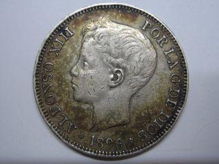 1896 18 - 96 Alfonso Xiii 5 Pesetas Silver Spain Spanish photo