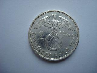 2 Reichsmark 1939 A German Hitler Silver Coin Third Reich Nazi Swastika Xx - Rare photo