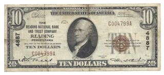 $10 The Reading National Bank And Trust Company Reading Pa Ch 4887 T - 1 S 4799 photo
