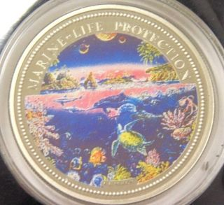 1993 Republic Of Palau Year Of Marine Life Protection Multicolor One Dollar Coin photo