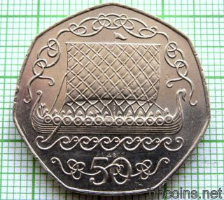 Isle Of Man Manx 1983 Ab 50 Pence Viking Longship,  Unc photo
