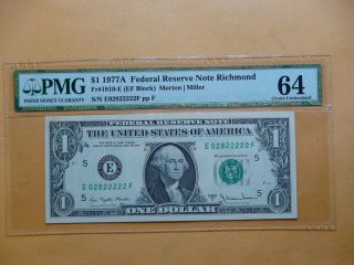 1977 A One Dollar Federal Reserve $1 Note Pmg Cu 64 Richmond Fr 1910 - E photo