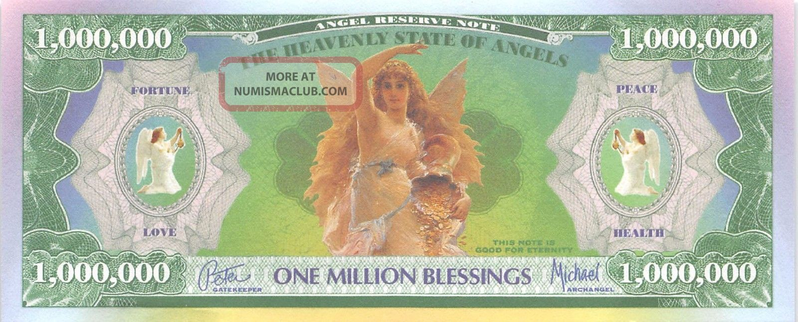 Usa / Angel Reserve Note 1 Million Blessing Uncirculated Banknote Paper Money: US photo