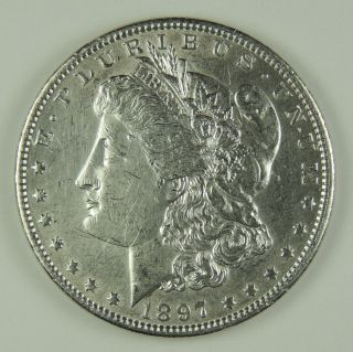 1897 - P $1 Morgan Silver Dollar Au,  Details (cleaned) (170329) photo