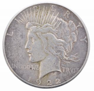 1922 S Peace Dollar Large $1 Silver Coin (us) Ungraded photo