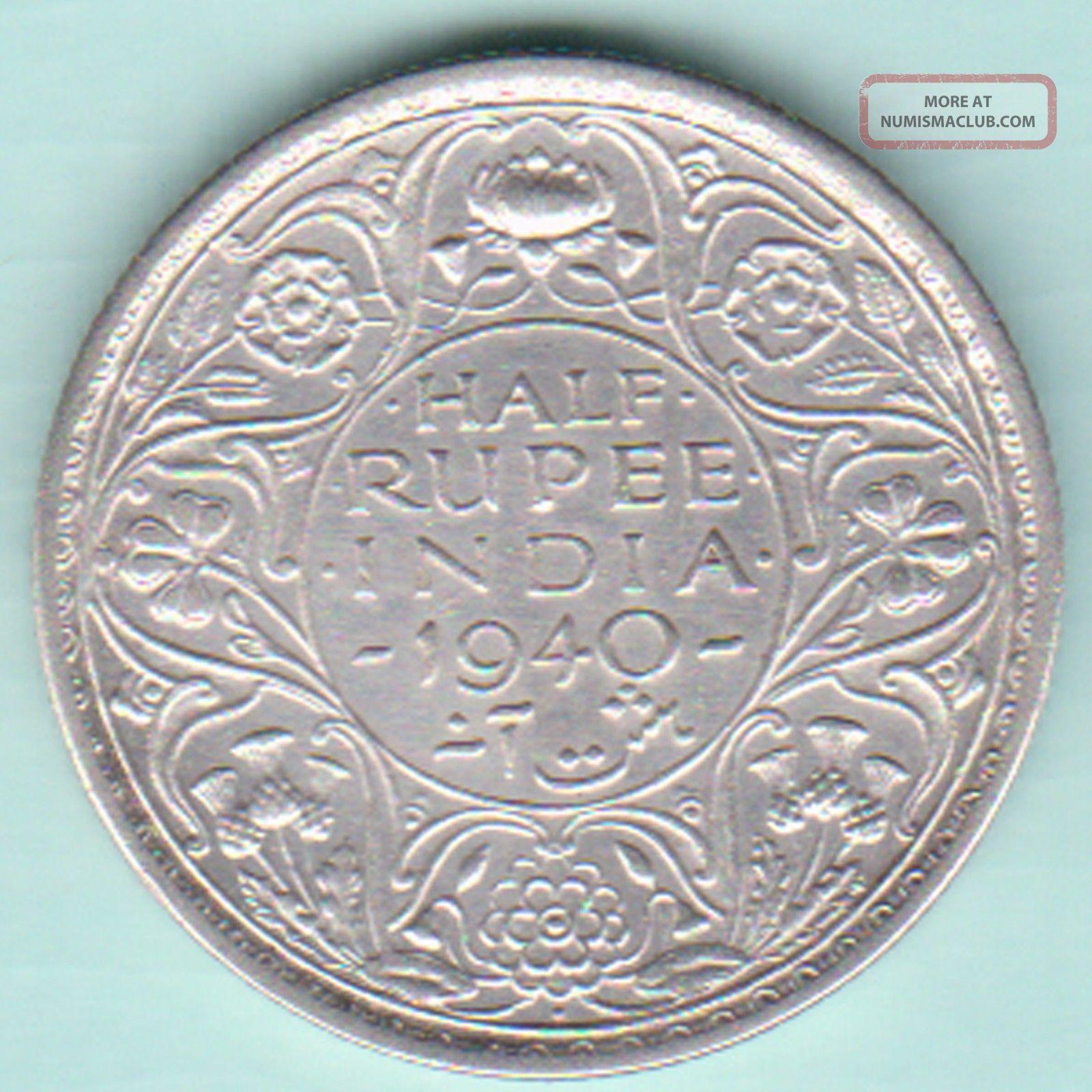 British India - 1940 - King George Vi Emperor - Half Rupee - Rarest Silver Coin British photo