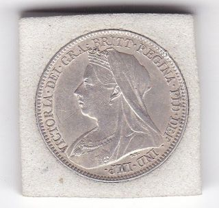 1893 Sharp Queen Victoria Sixpence (6d) Sterling Silver British Coin photo