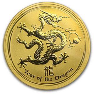 Rare 2012 1 Oz Pure.  9999 Gold Year Of The Dragon Perth $1,  788.  88 photo