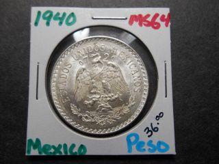 1940 Mexican Silver 1 Peso Cap & Ray - Silver Coin /.  720 Silver -.  3856 Asw photo