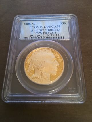 2008 - W Key Date $50 Gold Buffalo Pr - 70dcam Pcgs - Difficult To Find photo