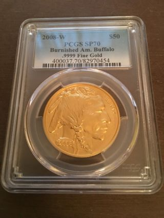 2008 - W Key Date $50 Gold Buffalo Sp70 Pcgs (burnished) Lowest Mintage In Series photo