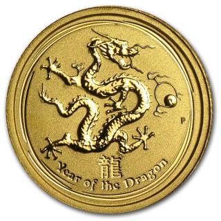 Rare 2012 1/20th Oz Pure.  9999 Gold Year Of The Dragon Perth $128.  88 photo