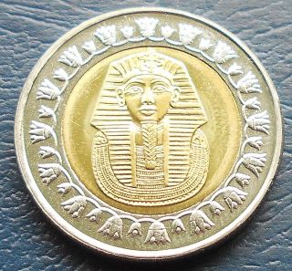 1431 (2010) Egypt 1 Pound Km 940a King Tutankhaman ' S Gold Mask Gem Bu C 48 photo