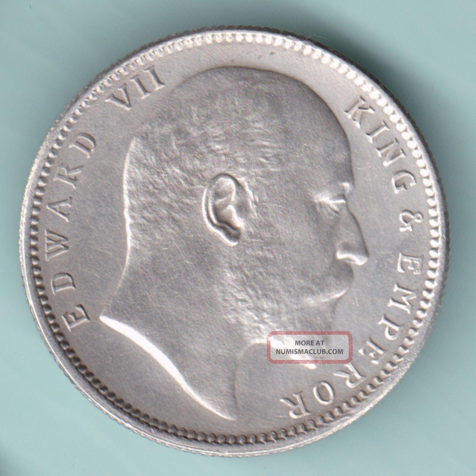 British India - 1910 - King Edward Vii - One Rupee - Rare Variety Silver Coin India photo