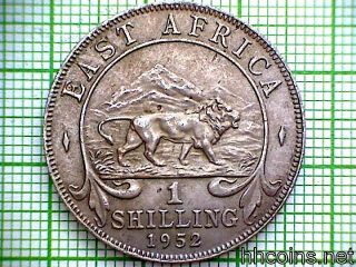 British East Africa George Vi 1952 Shilling,  Lion photo