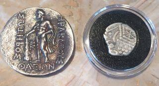 Ancient Greek Roman Coin Silver Drachma Jesus Time 20 Ad & Ariadne Naxos 300 Bc photo
