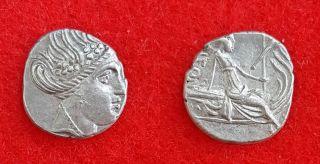 H50: Ancient Greek Silver Coin : Histiaia In Euboia - Tetrobol 300 - 200 B.  C photo