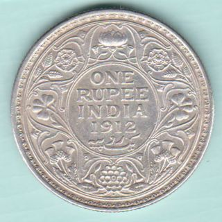 British India - 1912 - King George V Emperor - One Rupee - Rare Silver Coin photo