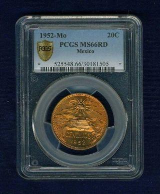 Mexico Estados Unidos 1952 20 Centavos Gem Uncirculated Certified Pcgs Ms66 - Rd photo