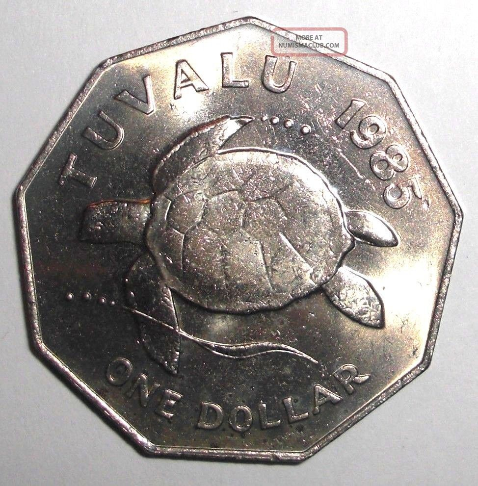 1985 Tuvalu 1 Dollar,  Sea Turtle,  Animal Wildlife Coin Coins: World photo