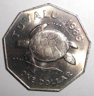 1985 Tuvalu 1 Dollar,  Sea Turtle,  Animal Wildlife Coin photo