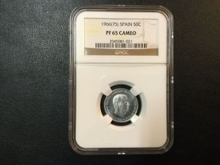 1966 - 75 Spain 50 Centimos Coin Ngc Pf65cam Certified photo